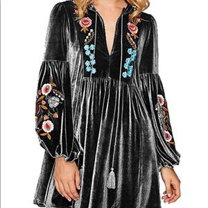 NEVER WORN! Velvet Embroidered Dress